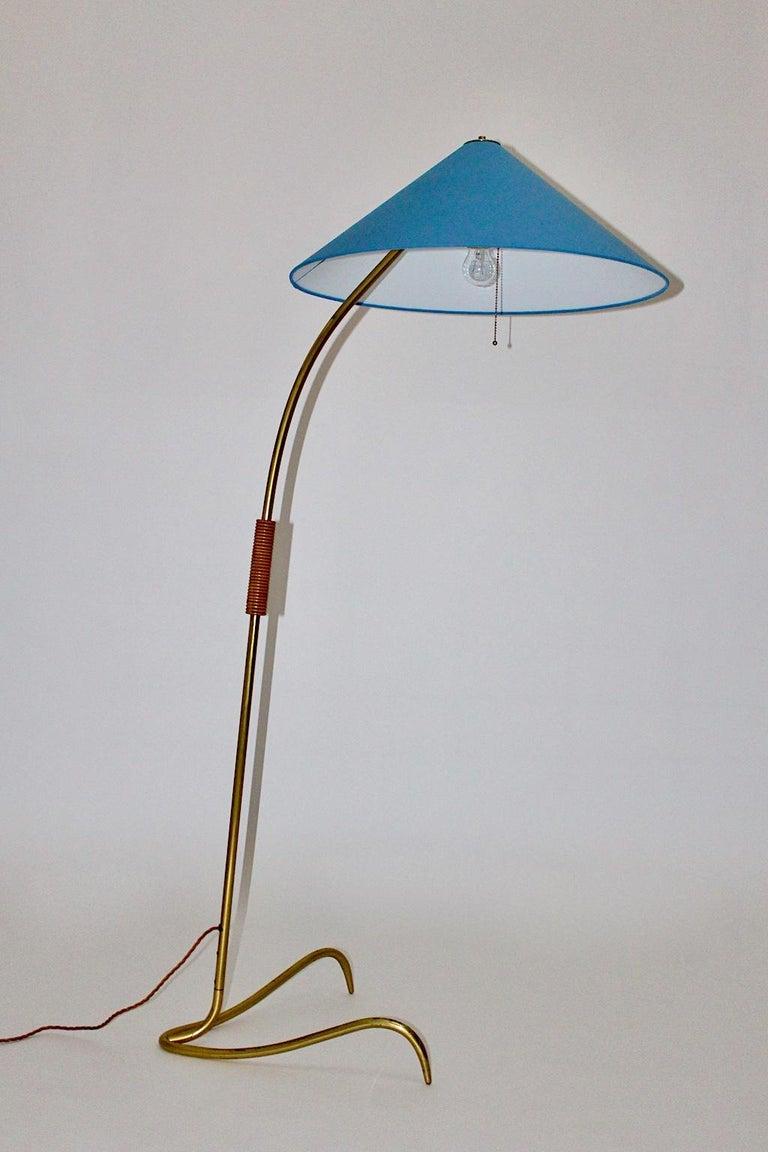 Austrian Rupert Nikoll Mid-Century Modern Vintage Brass Clawfoot Floor Lamp, 1950s Vienna For Sale