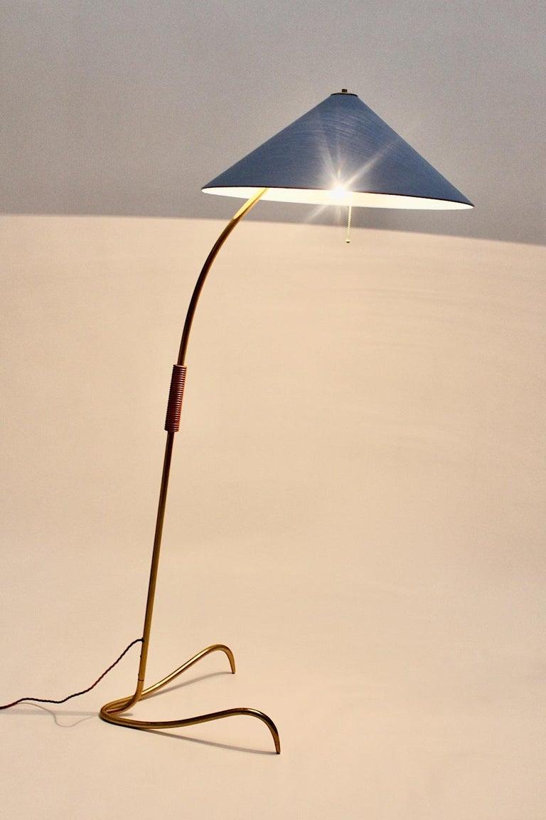 Mid-20th Century Rupert Nikoll Mid-Century Modern Vintage Brass Clawfoot Floor Lamp, 1950s Vienna For Sale