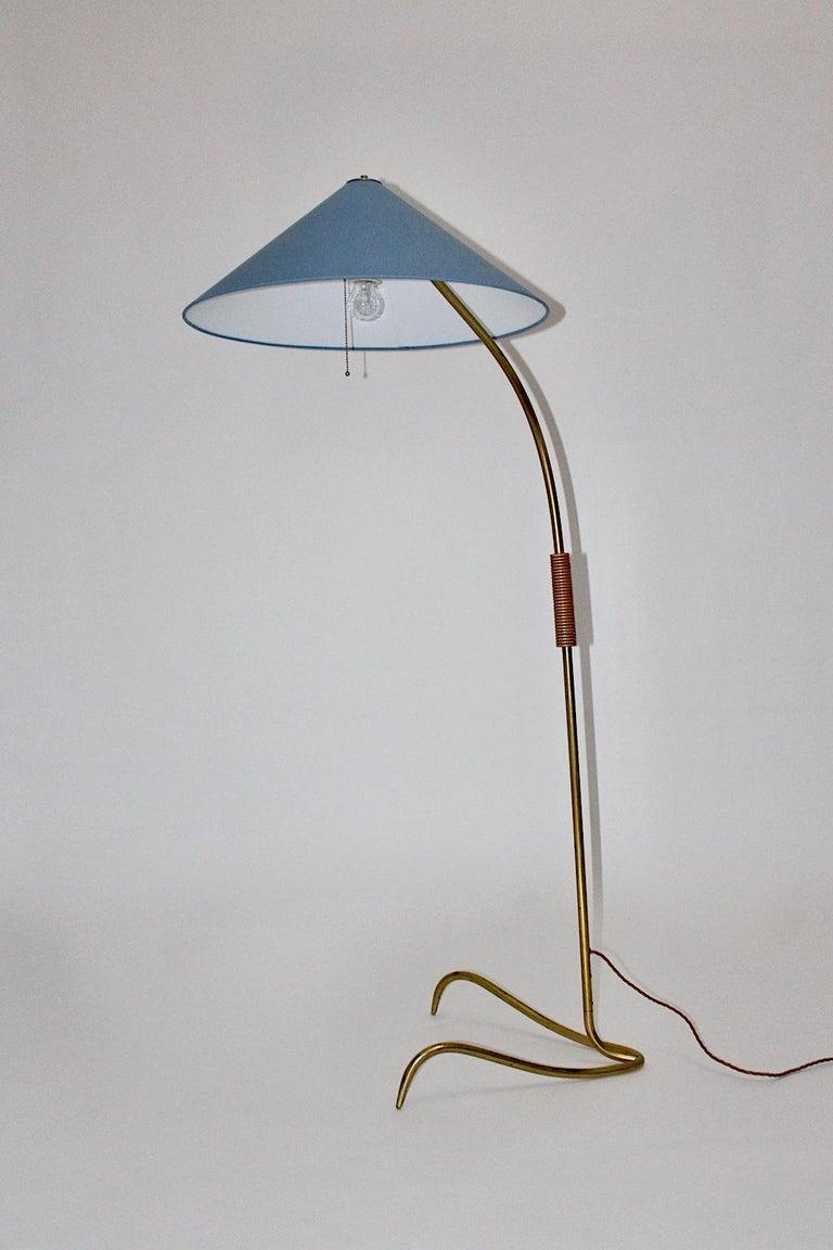Rupert Nikoll Mid-Century Modern Vintage Brass Clawfoot Floor Lamp, 1950s Vienna For Sale 2
