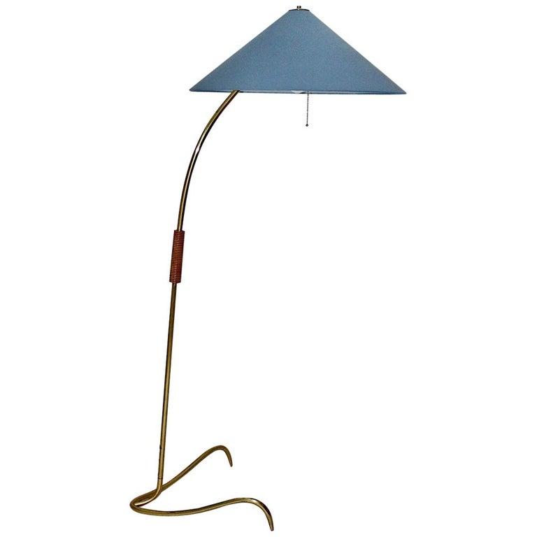 Rupert Nikoll Mid-Century Modern Vintage Brass Clawfoot Floor Lamp, 1950s Vienna For Sale