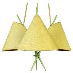 Rupert Nikoll Pendant Lamp Chinese Hat Chopstick Light Vienna, Austria, 1950s