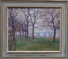 Battersea Park London - British 40's Impressionist oil landscape Thames bridge