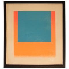 Rupprecht Geiger, Leuchtblau Auf Leuchtrot, Orange, Colourserigraph, 1967