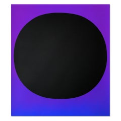 Black Circle on Blue Violet  Screenprint  Abstract  Minimalism  Color field