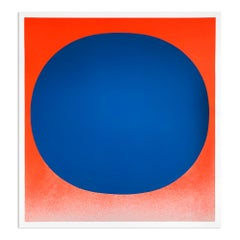 Blue on Orange, Silkscreen, Abstract Art, Minimalism, 20th Century