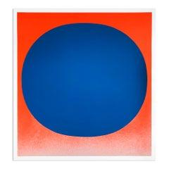 Blue on Orange, Silkscreen, Abstract Art, Minimalism, 20th Century