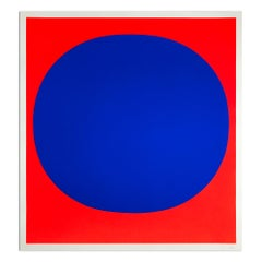 "Blue on Red (from ""Colour in the Round""), Silkscreen, Abstract Art, Minimalism"
