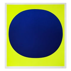 Blue on Yellow, Silkscreen, Abstract Art, Minimalism, 20th Century