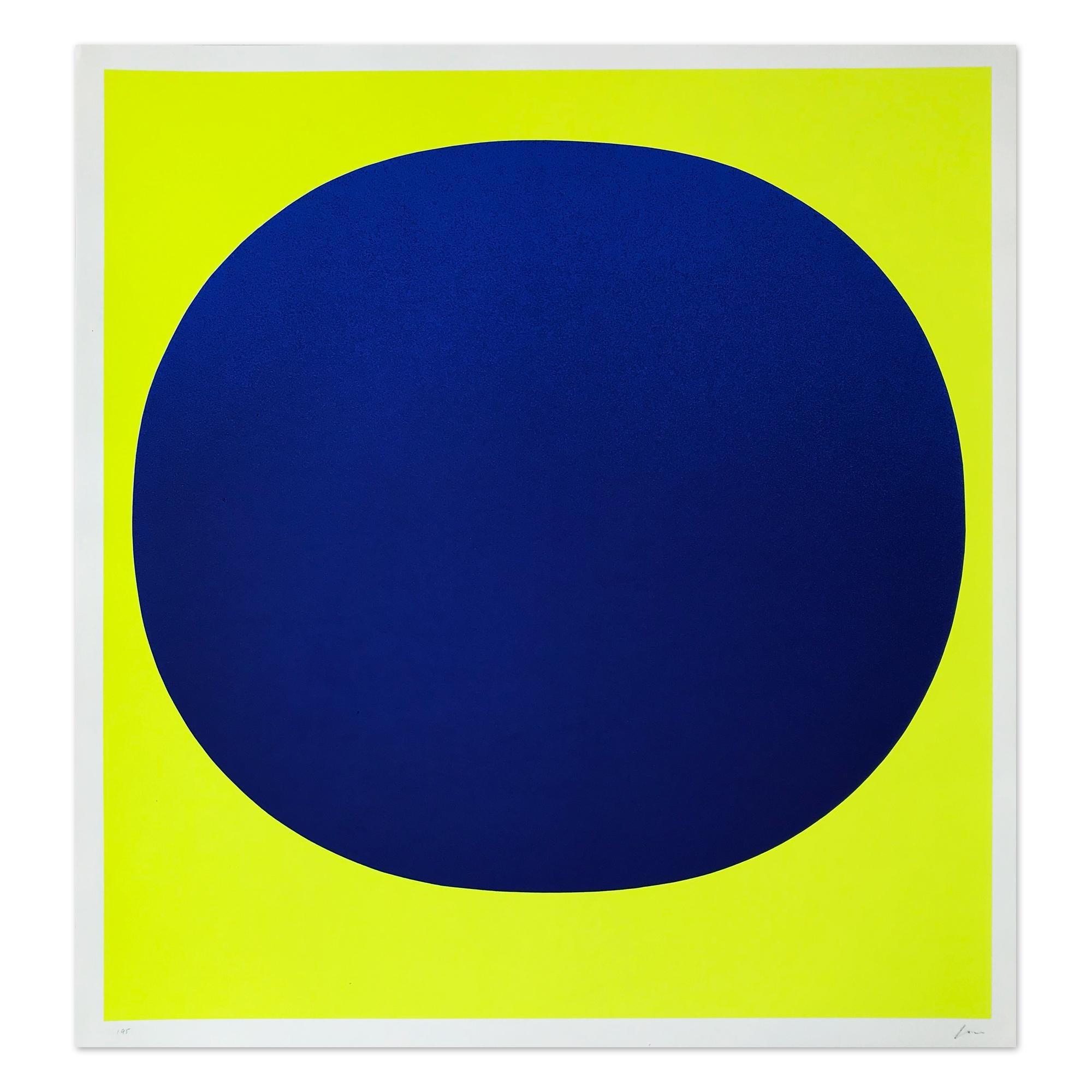 Blue on Yellow, Silkscreen, Abstract Art, Minimalism, 20th Century