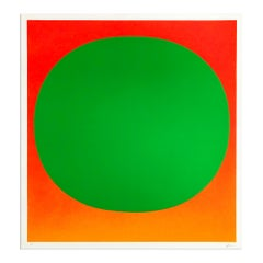 Green on Orange, 1969, Hand Signed Screenprint, Abstract Art, Minimalism
