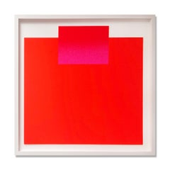 Pink and Red on Orange, Screenprint, Abstract, Minimalism