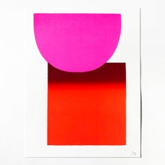 Pink on Red, Screenprint, Abstract Art, 21st Century, Minimalism