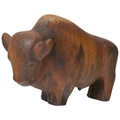 Ruscha Keramik Brown Glazed Bull, West Germany, 1960s