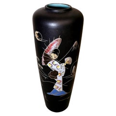 Ruscha Keramik Germany Vintage Ceramic Vase With Japanese Decoration