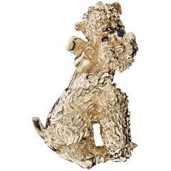 Ruser 14 Karat Yellow Gold Poodle Pin
