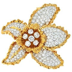 Ruser 1960s 18 Karat Two-Tone Flower with Pave Set Diamond Leaves Brooch