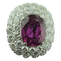 Ruser 8.39 Carat Pink Sapphire and Diamond Ring Set in Platinum, GIA, No Heat