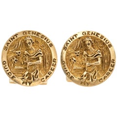 Ruser Cufflinks Vintage 14 Karat Yellow Gold Saint Genesius Estate Fine Jewelry