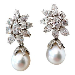 Ruser Diamond Platinum Earrings with Removable South Sea Pearl Dangles