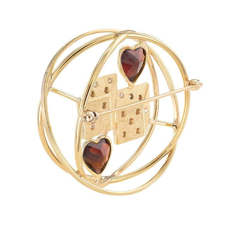 Modernist Ruser Garnet Diamond Yellow Gold Dice Brooch For Sale