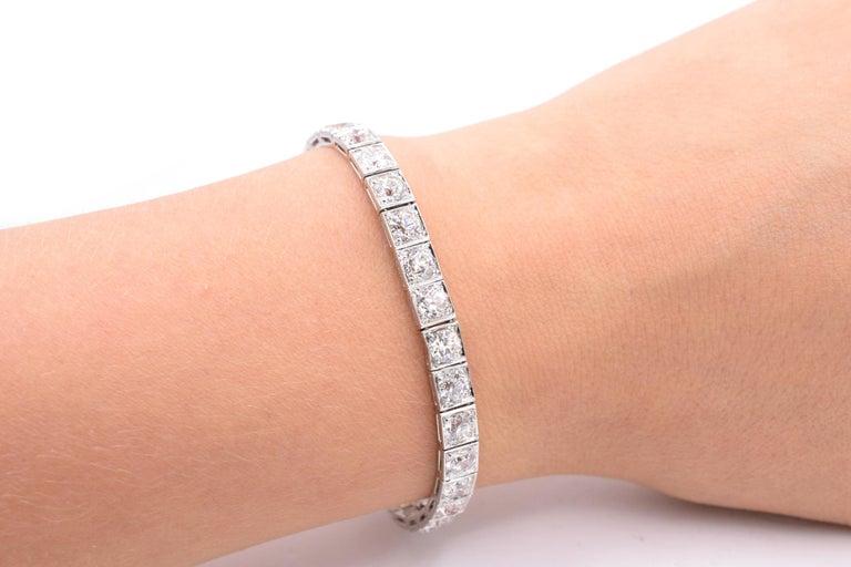 Old European Cut Ruser Old European Diamond Line Bracelet For Sale