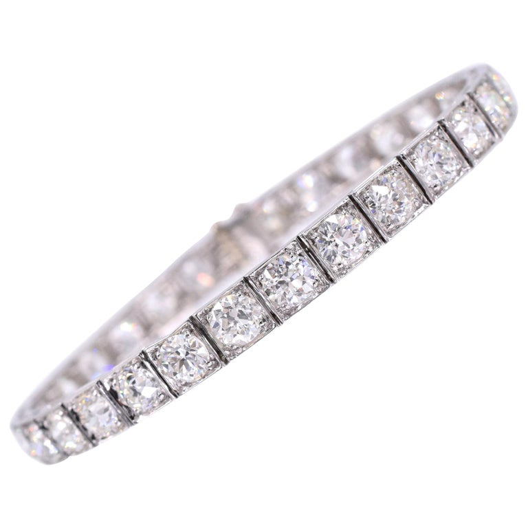 Ruser Old European Diamond Line Bracelet For Sale