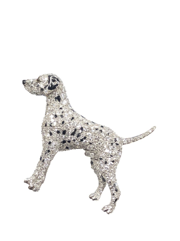 Ruser Platinum and Diamond Exquisite 1940s Dalmatian Dog Brooch In Excellent Condition For Sale In Chicago, IL