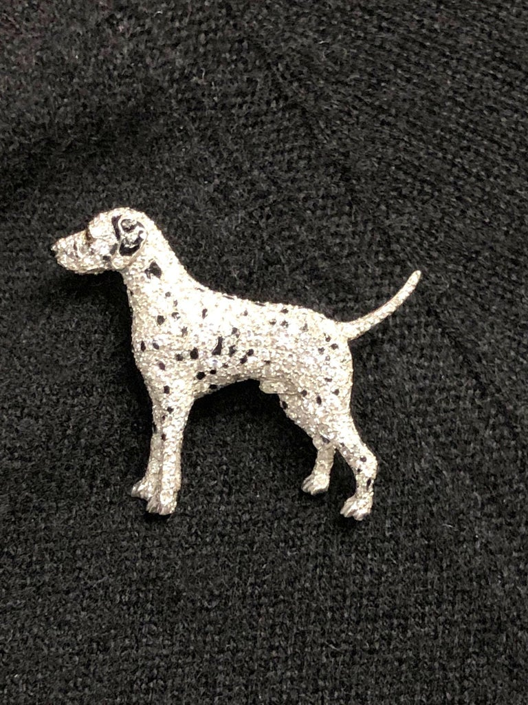 Women's or Men's Ruser Platinum and Diamond Exquisite 1940s Dalmatian Dog Brooch For Sale