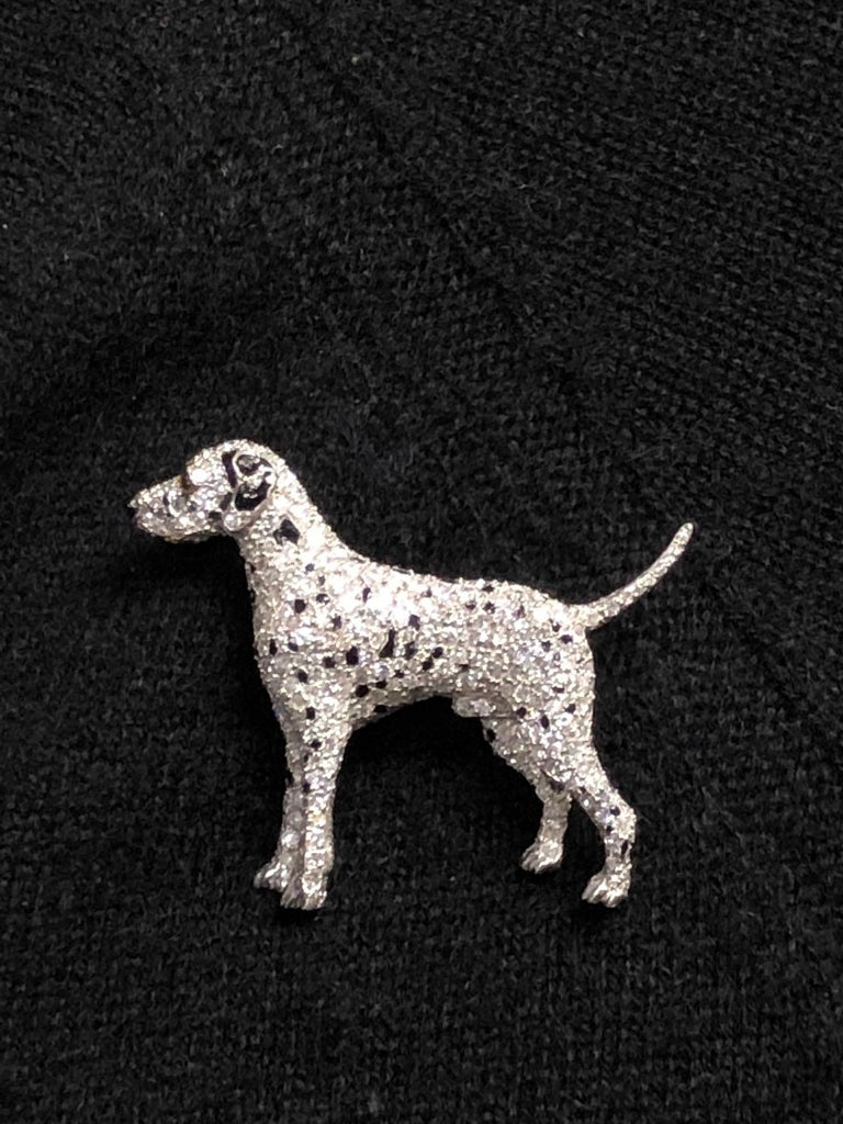 Ruser Platinum and Diamond Exquisite 1940s Dalmatian Dog Brooch For Sale 1