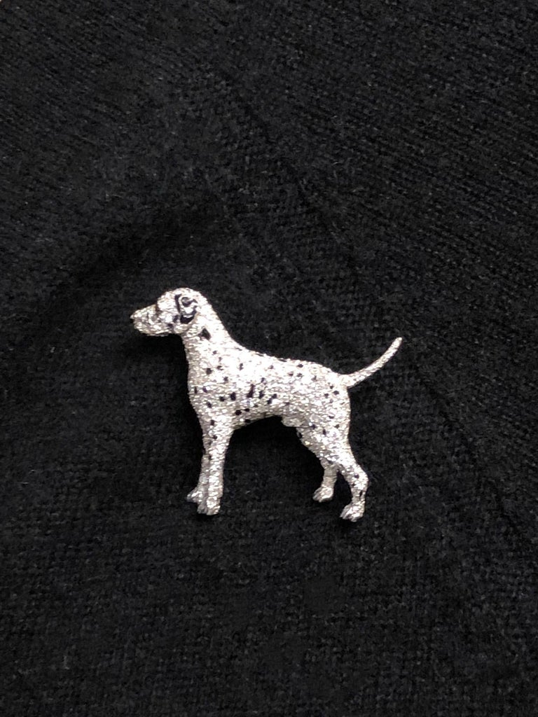 Ruser Platinum and Diamond Exquisite 1940s Dalmatian Dog Brooch For Sale 2