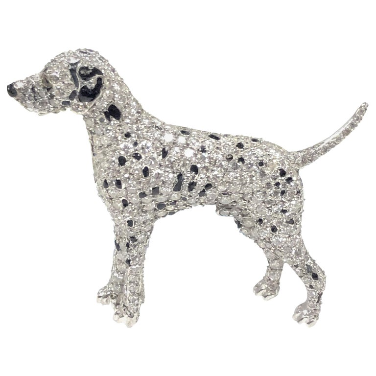 Ruser Platinum and Diamond Exquisite 1940s Dalmatian Dog Brooch For Sale