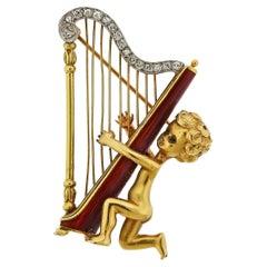 Ruser Retro Diamond Cherub Harp Brooch