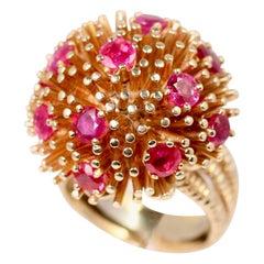 Ruser Yellow Gold Burmese Ruby Dome Ring