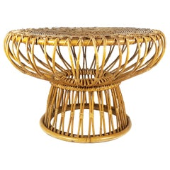 Rush and Rattan Midcentury Round Coffee Table by Franca Helg for Bonacina, 1955
