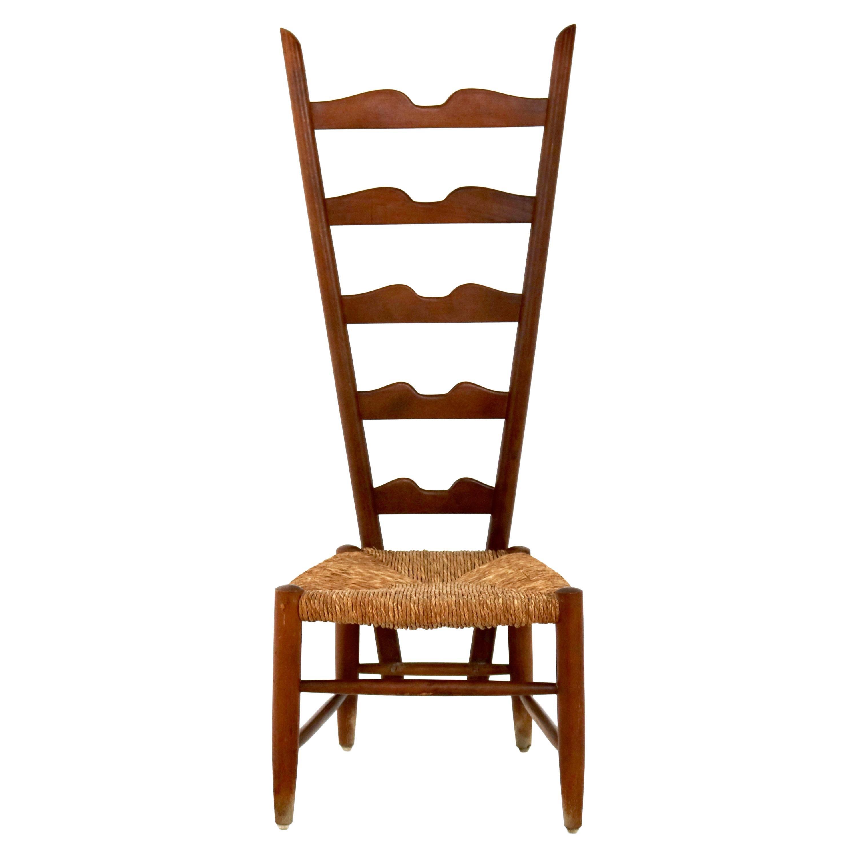 Walnut Ladderback Chair by Gio Ponti for Casa e Giardino, Italy