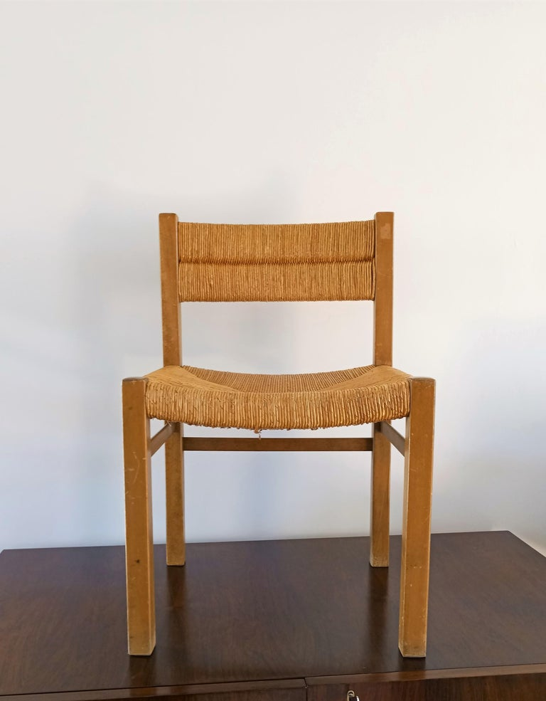 Pierre Gautier Delaye studied with Charlotte Perriand Pine wood Rush Minimalist chair Pair available   À Propos de Pierre Gautier Delaye (1923-2006) Diplômé de l'École nationale supérieure des Arts Décoratifs en 1951, Pierre Gautier-Delaye était