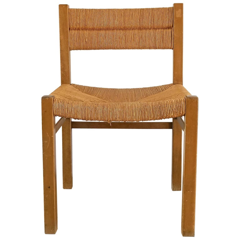 Rush Chair by Pierre Gautier Delaye, France, 1960s For Sale