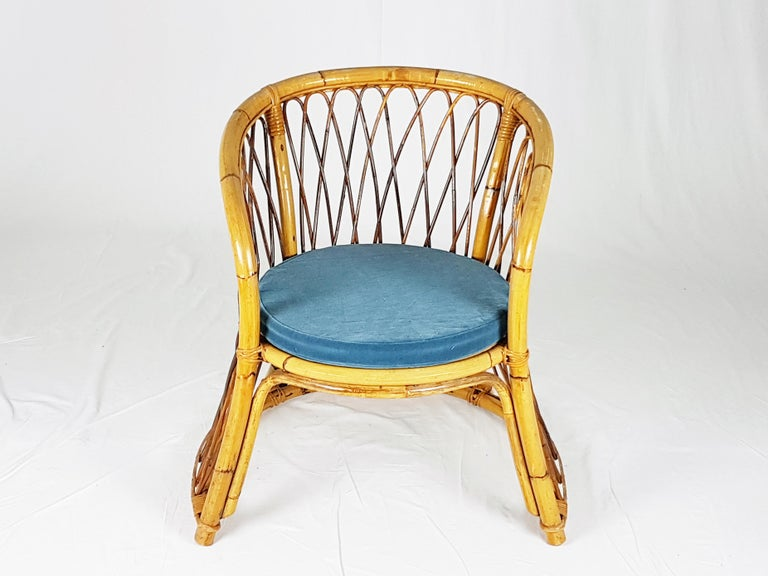 Mid-Century Modern Rush, Rattan and Mid Blue Velvet, 1960s Armchair Attributed to Bonacina For Sale