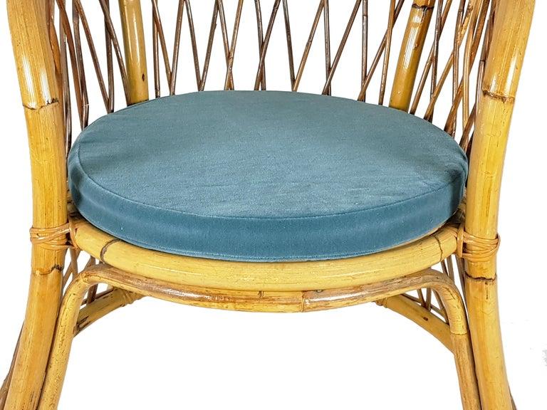Italian Rush, Rattan and Mid Blue Velvet, 1960s Armchair Attributed to Bonacina For Sale