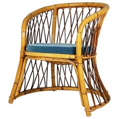 Rush, Rattan and Mid Blue Velvet, 1960s Armchair Attributed to Bonacina
