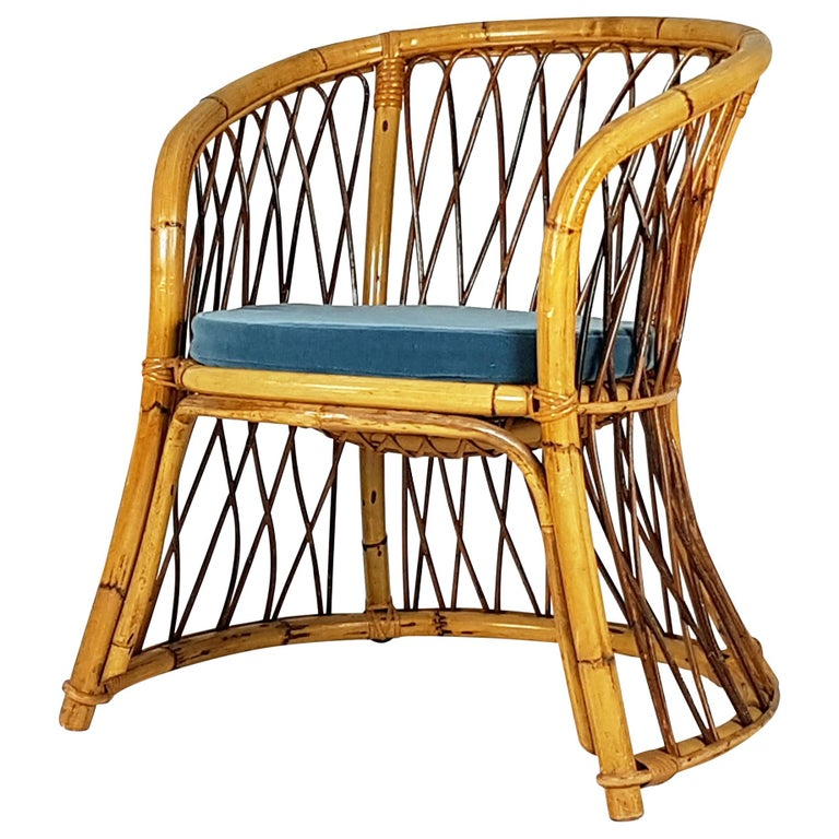 Rush, Rattan and Mid Blue Velvet, 1960s Armchair Attributed to Bonacina For Sale