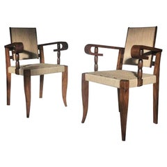 Rush Seat and Back Pair of Victor Coutray Chairs, France, 1950s