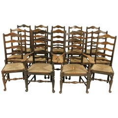 Rush Seat Chairs, Set of 14 Chairs, 12+2 Chairs, 14 Dining Chairs, 1920