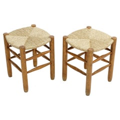 Rush Stool in the Style of Charlotte Perriand