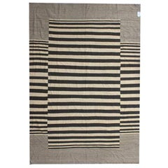 Rusk Black and White Modern Striped Wool Flat-Weave Kilim Rug