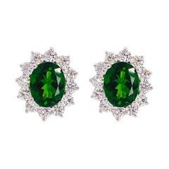 Russalite Diamond Halo Earring Studs, 5.80 carats Green Russalite and Diamonds