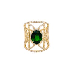 Russalite Diamond Ring, Cigar Band in Yellow Gold, 2.45 Ct Emerald 186 Diamonds
