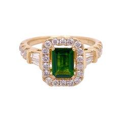 Russalite Diamond Ring Diamond Halo Genuine and Natural Emerald Cut Ring