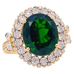 Russalite Diamond Ring, Mixed Metal, 4.25Ct Oval Gemstone with Halo of Daimonds