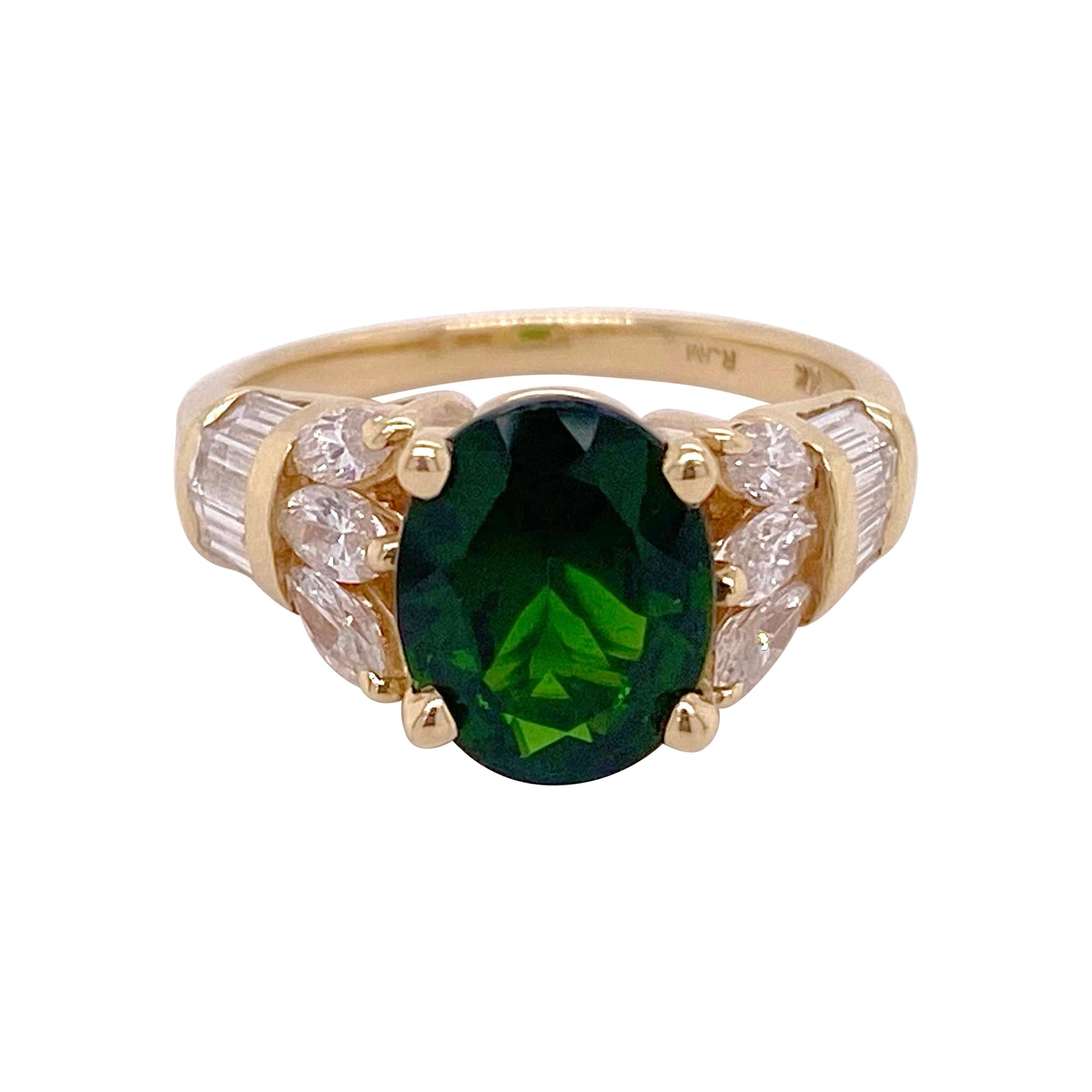 Russalite Diamond Ring, Oval Natural Genuine Green Gemstone Ring